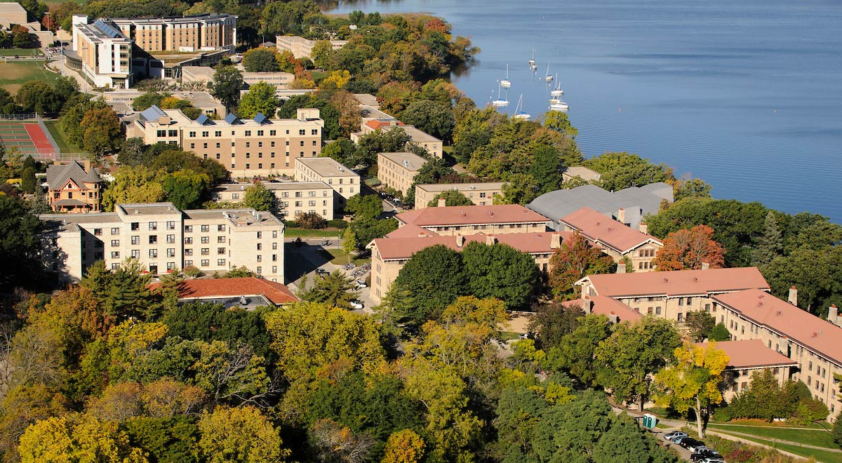 Aerial view of Lakeshore halls