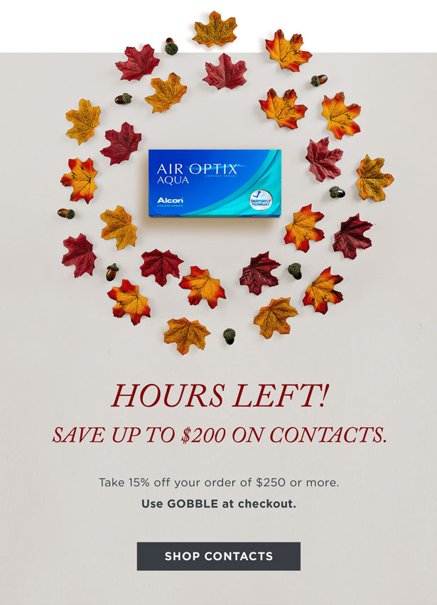 Hours Left save 15% on contacts