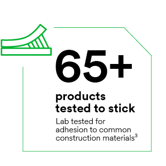 65+ products tested to stick – lab tested for adhesion to common construction materials