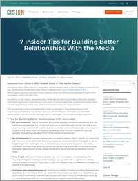 Blog Post - 7 Tips for Building Better Relationships with the Media