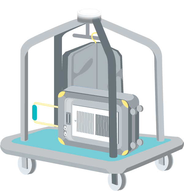 Illustration of a hotel luggage cart with a suitcase that is also a HVAC vent.
