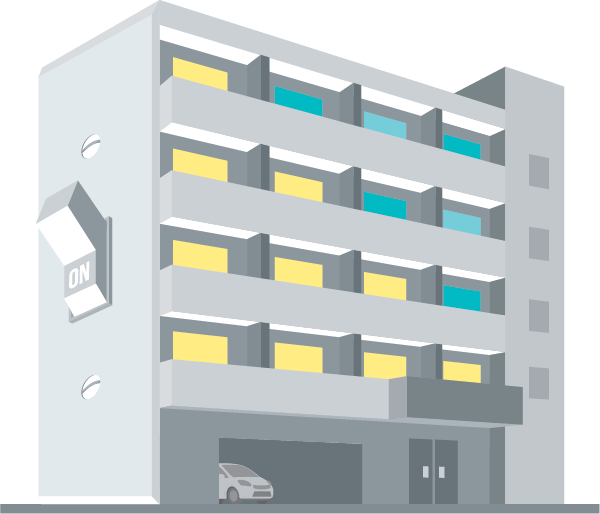 Illustration of an apartment building with an oversized on light switch on the side of the building