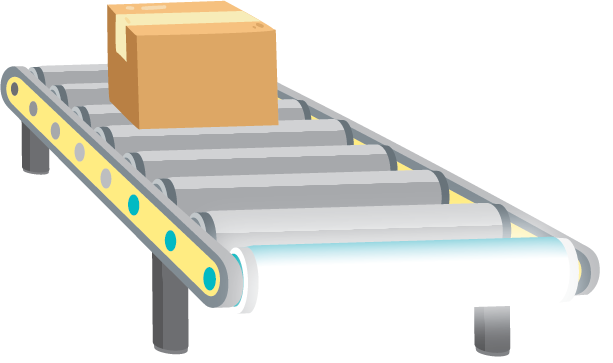 Illustration of a conveyor belt turning into a linear LED bulb
