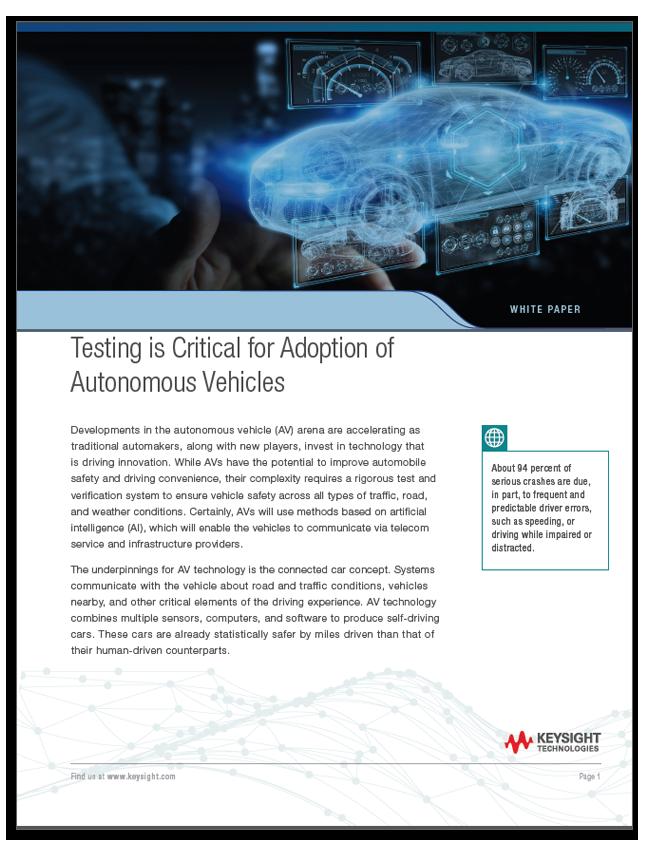 Testing is Critical for Autonomous Vehicles White Paper