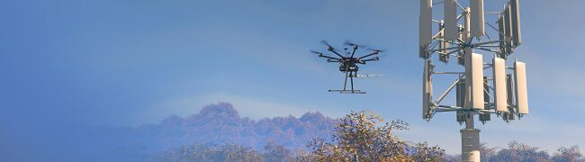 Image showing 5G tower and drone