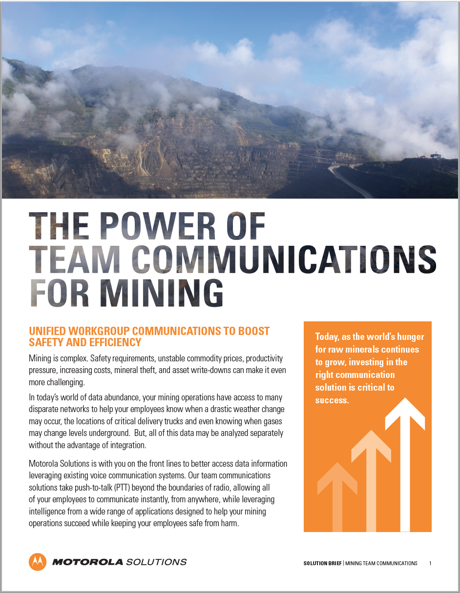 MINING TEAM COMMUNICATIONS BRIEF LANDING PAGE