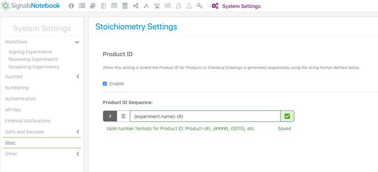 Stoichiometry Settings