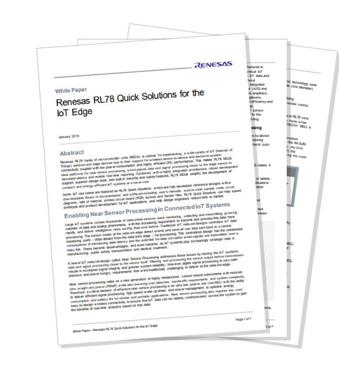 White Paper: RL78 Quick Solutions for the IoT Edge